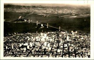 Vtg  Postcard RPPC 1930s AZO San Francisco Oakland CA Bay Bridge Aerial UNP
