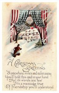 8432   Christmas   American Flag Banner entrance, Home in Winter , poem