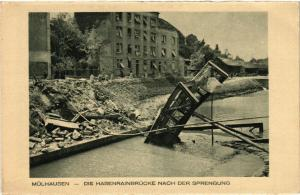 CPA AK MÜLHAUSEN - MULHOUSE - Die Hasenrainbrucke Nach Der Sprengung (388634)