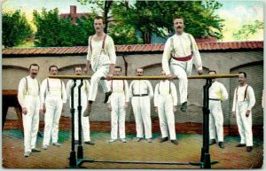 1916 TURNERS Acrobats Postcard Gymnastics Men on Parallel Bars / French Message