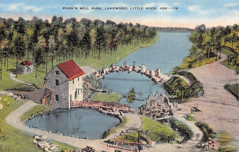 Little Rock Arkansas 1940s Postcard Pugh's Mill Park Lakewood