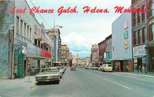 1960's Chrome PC; Last Chance Gulch, Helena MT Street Scene Signs Unposted