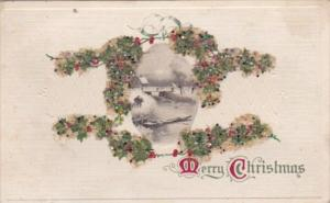 Christmas Holly With Landscape Scene