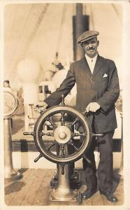 Marblehead MA Rockmere Ship's Steering Wheel RPPC Postcard