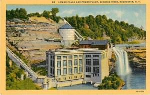 Linen of Lower Falls and Power Plant Genesee River Rochester
