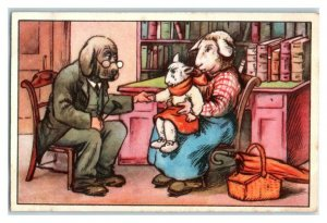 With Uncle Doctor, Funny Animals, Echte Wagner German Trade Card *VT31R