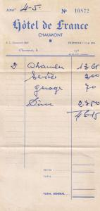 Hotel De France Chaumont Old Receipt