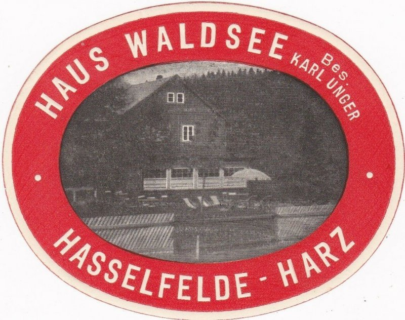 Germany Hasselfelde/Harz Haus Waldsee Vintage Luggage Label sk3205