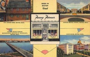 Boston Fanny Farmer Multi-View Curt Teich Linen Postcard