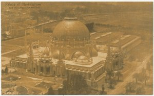 Copper Toned Birdseye View Horticulture Palace 1915 PPIE Panama Pacific Expo PC