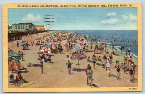 Postcard DE Rehoboth Beach Bathing Beach Boardwalk North View Henlopen Hotel T11