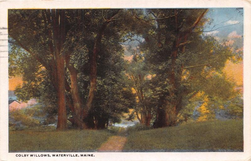 WATERVILLE MAINE COLBY WILLOWS~DIRT ROAD THRU TREES TO WATER POSTCARD 1923 PSTMK