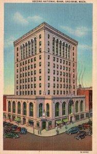 Saginaw, Michigan, MI, Second National Bank, 1945 Linen Vintage Postcard g8904
