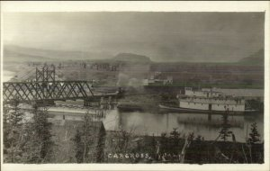 Carcross Yukon Ship Steamship & Bridge c1910 Real Photo Postcard