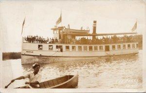 'Argyle' Ferry Kenora Ontario ON Steamer c1933 Real Photo Postcard G55