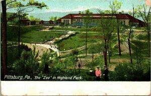 Vtg Postcard 1909 Pittsburg Zoo in Highland Park - Pittsburg PA