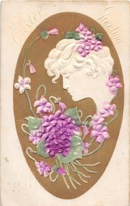 A90/ Easter Postcard Holiday Greetings 1908 Greenville Ohio Woman Cameo 22