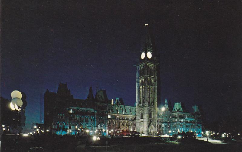 OTTAWA, Ontario, Canada, 1940-1960's; The Canadian Houses Of Parliament Illum...