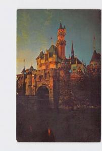 VINTAGE POSTCARD DISNEYLAND FANTASYLAND SLEEPING BEAUTY CASTLE #2 AT SUNSET