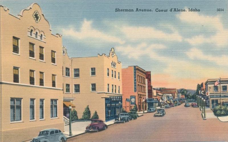 Cars on Sherman Street Coeur d'Alene, Idaho - Linen