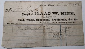 1872 ISAAC W HINE Coal Wood Groceries Provisions New Haven Dealer NY Billhead