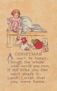 CHRISTMAS, 1900-10s; Howe, Little girl crying, Doll, Poem