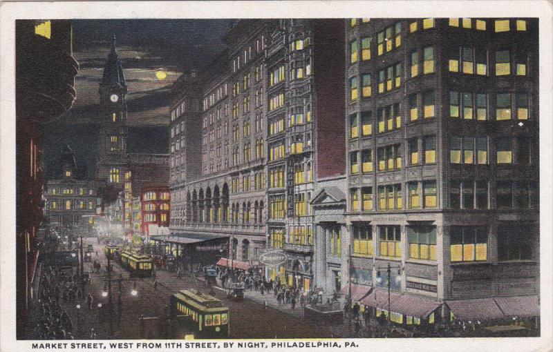 Market Street , West from 11th Street , By Night , PHILADELPHIA , Pennsylvani...
