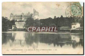Old Postcard Pierrefonds Chateau les Bains and the Hotel des Bains