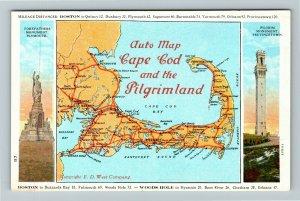 MA-Massachusetts, Auto Map Cape Cod And Pilgrimland, Vintage Postcard
