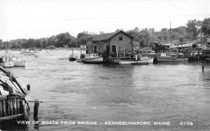 Kennebunkport Maine View of Boats from Bridge Real Photo Antique Postcard J76999