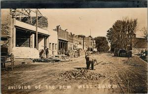 West Salem WI~Workers Rebuild Downtown Whilte La Mont* Bros Entertain~c1910 RPPC