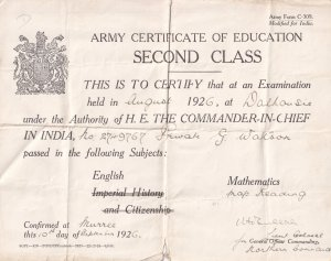 Indian Army 1926 Second Class Certificate Of Education Military Ephemera