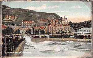 LLANDUDNO WALES UK~A STORMY DAY~KING'S SERIES POSTCARD 1906
