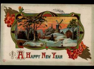 Kokomo IN Happy New Year Windmill Arts & Crafts P. Sander Vintage Postcard C01