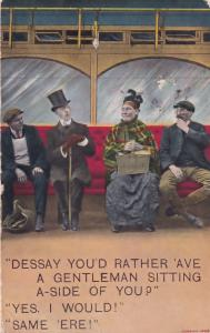 Train Travel First Lower Class All Mixed Up Antique Railway Comic Postcard