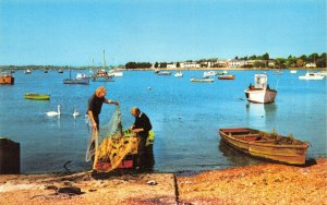 Vintage Dorset Postcard, Sorting the Fishing Nets at Mudeford FO4