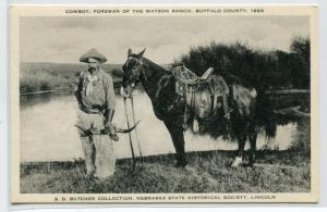 Cowboy Foreman & Horse Watson Ranch Buffalo County Nebraska postcard