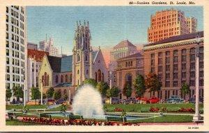 Misouri St Louis Downtown Sunken Gardens and Fountain Curteich