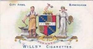 Wills Vintage Cigarette Card School Arms 1906 No 14 City Arms Birmingham