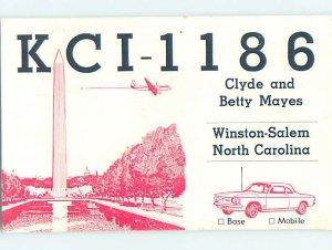 Pre-1980 RADIO CARD - CB HAM OR QSL Winston-Salem North Carolina NC AH2189