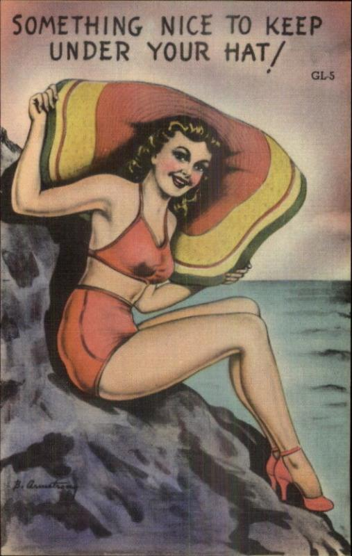Sexy Bathing Beauty Pinup Giant Beach Hat Armstrong Linen Postcard EXC COND