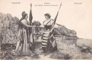 FRANCE & ITALY UNION DES DEUX SOEURS LATINES 2 SISTERS OF LATIN POSTCARD c1920s