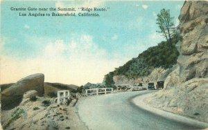 Bakersfield California 1920s Ridge Route Postcard Granite Gate Los Angeles 9803