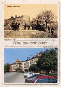 Postcard Czech Teschen Český Těšín Showing 1911 & 2001 TRAM Czech Republic