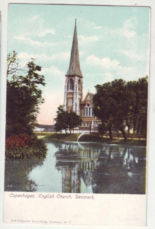 P383 JL postcard old denmark copenhagen english church