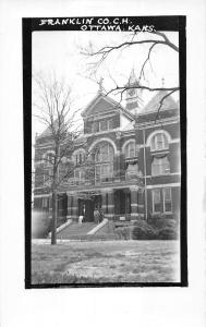 Ottawa Kansas Franklin County Court House Exterior Real Photo Postcard V15395