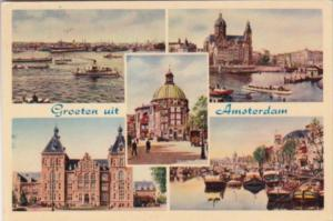 Netherlands Greetings From Amsterdam Multi View 1954