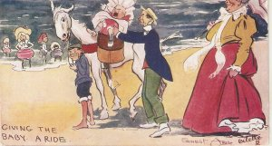 Ernest Aris. Giving the baby a ride at SouthenD Tuck Oilette Seaside Humour PC