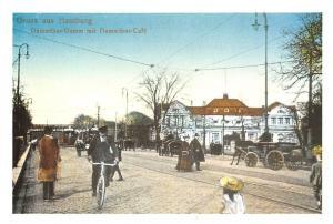 Gruss aus Hamburg Dammthor Damm mit Dammthor Cafe Cyclist Horse Carriage