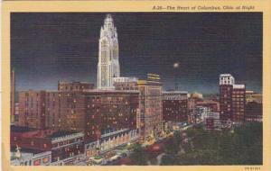 Ohio Columbus Skyline At Night Curteich
